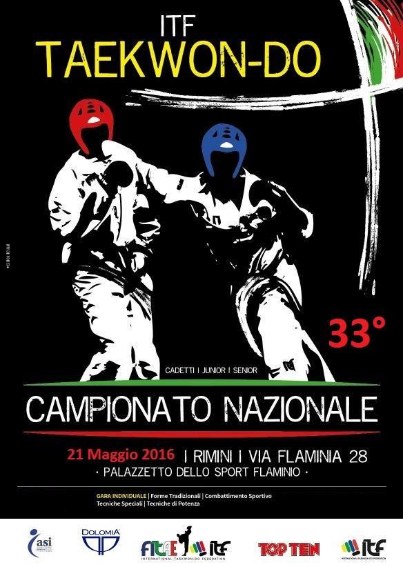 Locandina 33° Campionato Nazionale Teakwon-Do - Rimini 2016