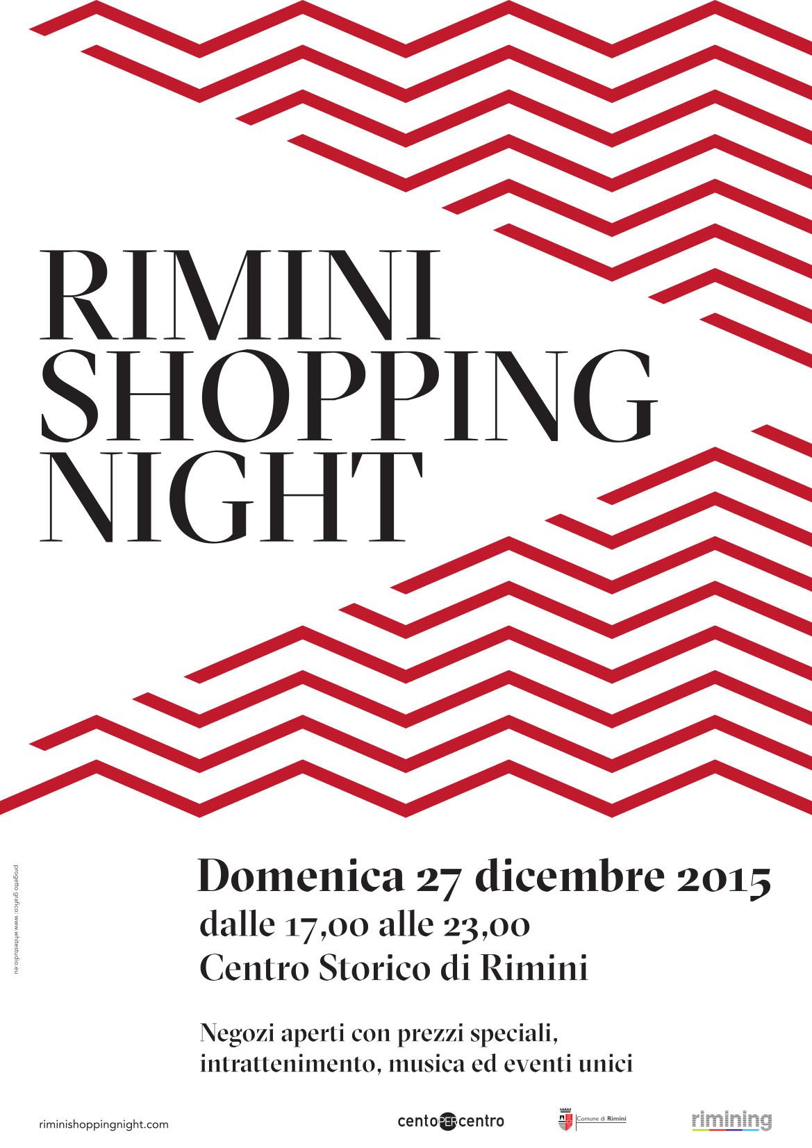 Locandina Rimini Shopping Night - Natale 2015