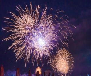 Fireworks display on the beach