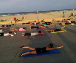 Pilates on the beach nearby the pier